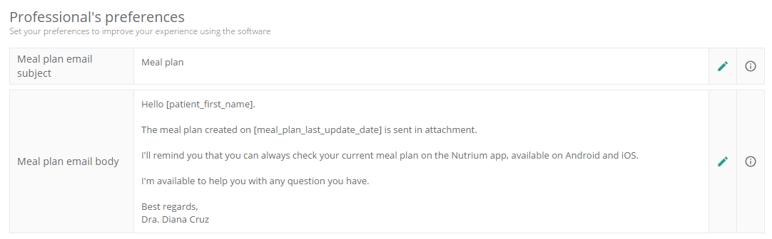 new options to customize the email with the meal plan